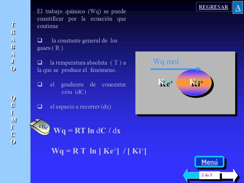 A Ke+ Ki+ Wq mol Wq = RT ln dC / dx Wq = R T ln [ Ke+] / [ Ki+]
